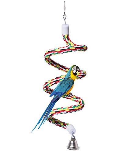 Bird Perch, Rope Bungee Bird Toy (Black(43 Inch Long))