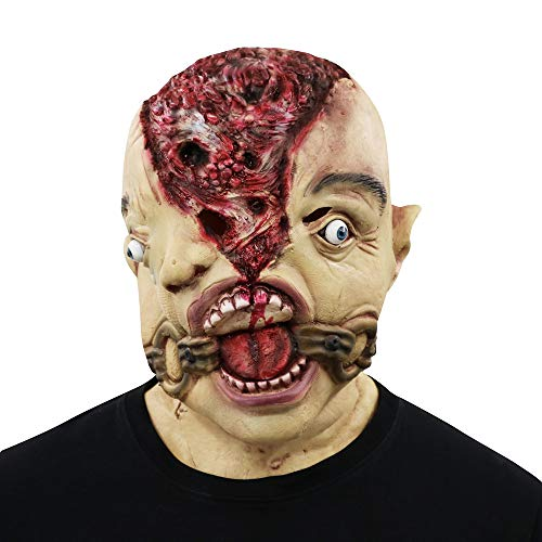Halloween Mask, Yachee Creepy Novelty Horror Zombie Full Head Deluxe Latex Mask for Halloween Cosplay Prank Props - Split Head -