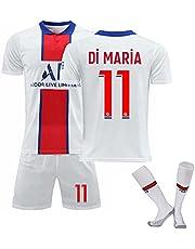 Soccer Jersey Set, Adults Children Mbappé 7# Neymar 10# Di Maria 11# 2021 Away Football Jersey T-Shirt + Shorts + Sock