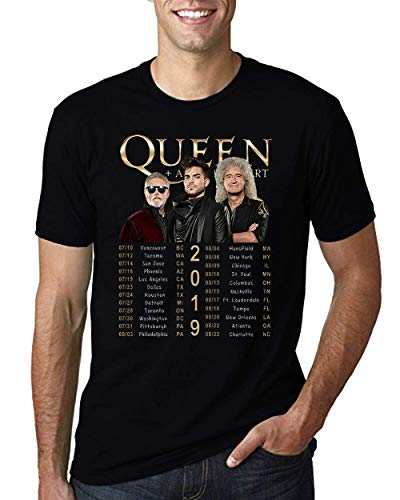 - Queen and Adam Lambert Rhapsody Concert Tour 2019 T-Shirt Black Cotton Men Shirt (Black, XL)