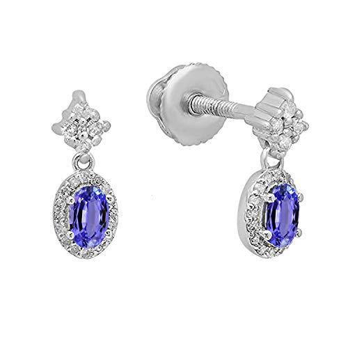Dazzlingrock Collection 10K 5X3 MM Each Oval Tanzanite & Round White Diamond Ladies Dangling Drop Earrings, White Gold