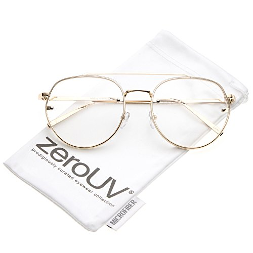 zeroUV - Modern Slim Brow Bar Rimless Clear Round Flat Lens Aviator Eyeglasses 59mm (Gold / Clear)