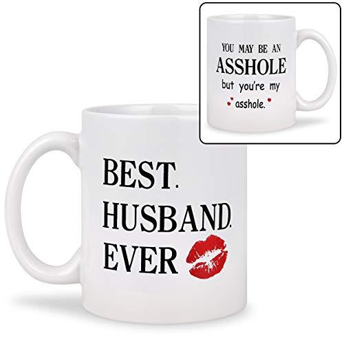 Husband Gifts Best Husband Ever Coffee Mug Funny Coffee Mug Double Side Mug Novelty Birthday Anniversary Wedding Surprise Useful Gift for Husband 11Oz