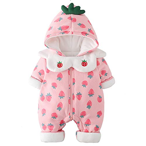 Y·J Back home Baby Fleece Lined Snowsuit Newborn Winter Strawberry Printed Romper Pink Infant Jumpsuit Puffer Outfit Hooded Outerwear for Toddler,12-18 Months -