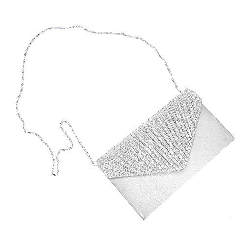 Bolso Pequeños Satén De Para Muchos Fiestas Asixx Diario Fiesta Plata Mujer El Con Mano Diamantes Material Nocturnas dS5qwxv
