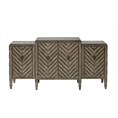 Madison Park MP133-0658 Dresden Media Console Cabinet - Modern Mid-Century, Chevron Design with Metal Hardware Buffet/Sideboard Accent Living Room Furniture, Beige