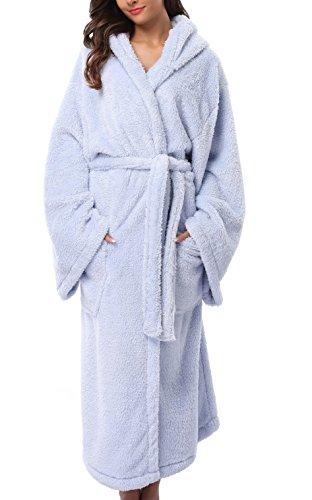 Robe Blue Hooded (1stmall Fleece Robe, Long Hooded Bathrobe for Women's with Soft Velvet Bathrobe)