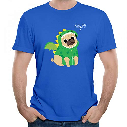 Cute Pug with Dragon Costume Graphic Men T Shirt Short Sleeve Blue M ()