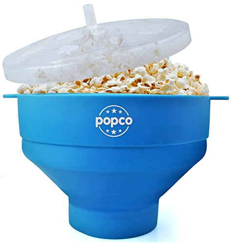The Original Popco Silicone Microwave Popcorn Popper With Handles Bpa Free  Light Blue