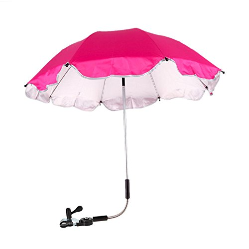 Buggy Sun Protection - Chinatera Baby Pram Pushchair Buggy Shade Stroller Parasol Sunshade Stroller Umbrella with Universal Clamp (Rose Red)