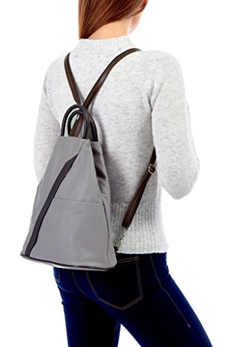 Shoulder Backpack Taupe and Soft Dark Tan Leather Super Rucksack amp; Bag Italian a7FTqx6