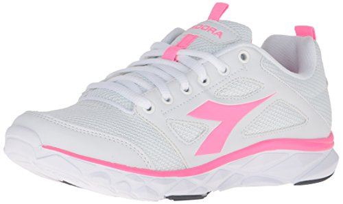 Diadora Womens Hawk 6 W Running Shoe White/Pink Fluorescent N83mPwJuu3