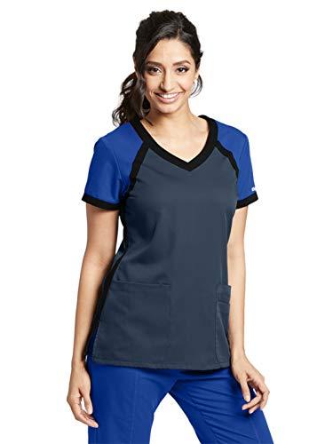 (Grey's Anatomy Active 41435 Color Block V-Neck Top Steel/Galaxy/Black XS)