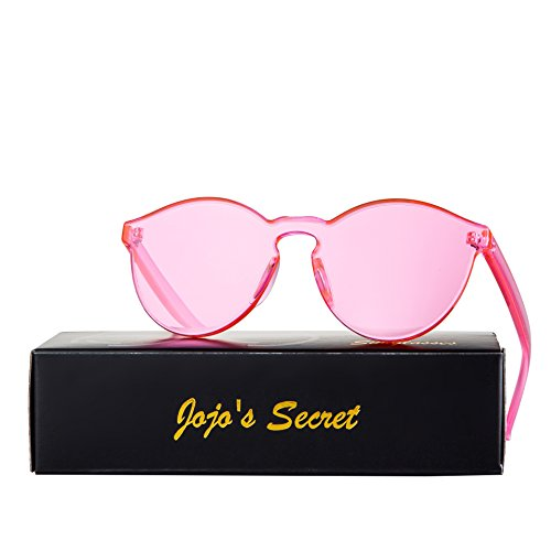 JOJO'S SECRET One Piece Rimless Sunglasses Transparent Candy Color Eyewear JS017 (Transparent&Pink, - Pink Plastic Sunglasses