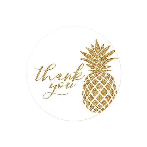Andaz Press Round 2-inch Circle Label Stickers, Faux Gold Glitter Pineapple, Thank You, 40-Pack, Party Favor Envelope Stationary Seals Colored Tropical Wedding Baby Shower Birthday Decorations