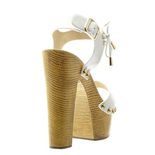 Calcanhar Angkorly Metálico Branco Sapatos Mula Sapatos Cm Salto Sandálias Alto Rebites De Madeira Bloco Senhoras Ocupada 14 Plataforma Hq8H7xRr