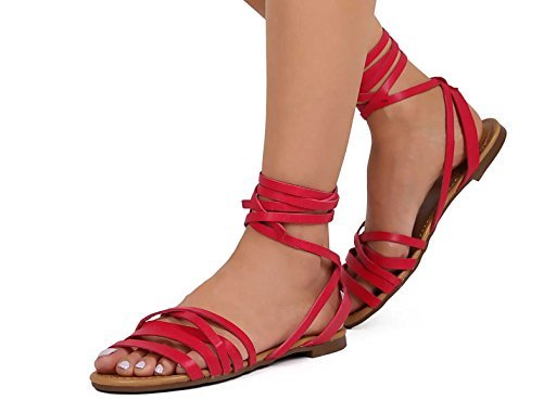 Women's Thong Flat Sandals Tie Shopglamla Gladiator Strappy Ankle Style Fuchsia up Self Caged TREO6