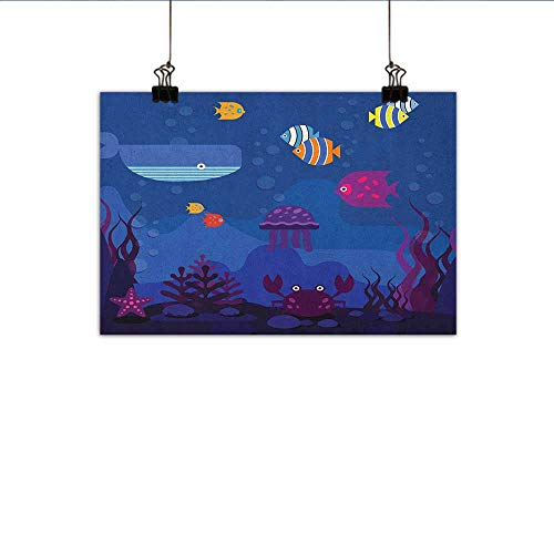 - Littletonhome Cartoon Modern Oil Paintings Underwater World Fish in Aquarium and Whale Crabs Jellyfish Bubbles Coral Canvas Wall Art 24