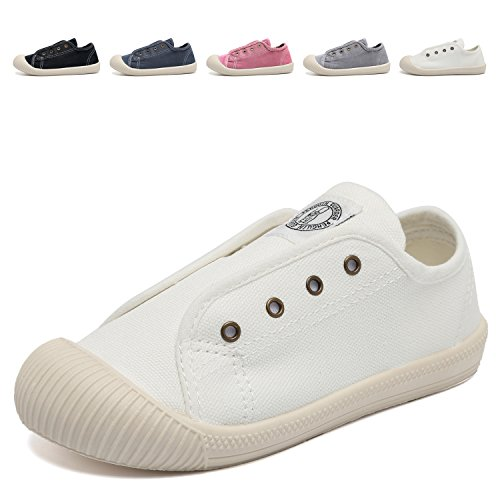 CIOR Kids Canvas Sneaker Slip-on Baby Boys Girls Casual Fashion shoes-White-23