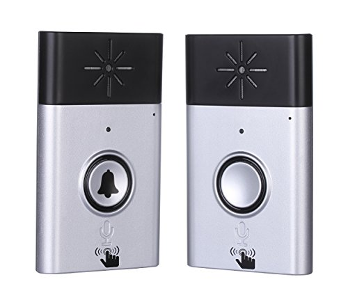 Wireless Intercom Doorbell and Wireless Chime Voice Doorbell and Two-Way Portable Walkie-talkie Operating at Over 600 feet Include 1 Receiver and 1 Push Button for Home and Offfice Silver Napok by Napok