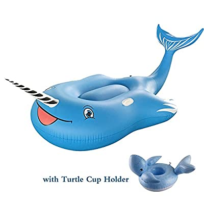 TiTa-Dong Inflatable Giant Blue Whale Pool Float, Funny Pool Raft Beach Loungers Ride-ons Toys Large Summer Outdoor Pool Floatie Lounge Floating Row for Adults Kids with Turtle Drink Holder