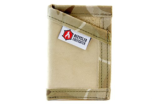 "Leather Money Clip Wallet – ""Combat Boot Leather"" - Recycled + Waterproof + Fireproof +Made in USA - Unique Wallets for Men (Desert Tan & MultiCam) … by Recycled Firefighter"
