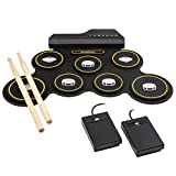 Ivation Portable Electronic Drum Pad – Digital Tabletop Roll Up Drum Kit w/