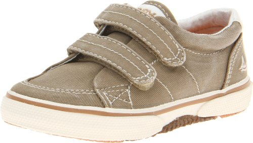 SPERRY Kids' Halyard Hook and Loop Boat Shoe, Khaki, 5.5 W US Toddler