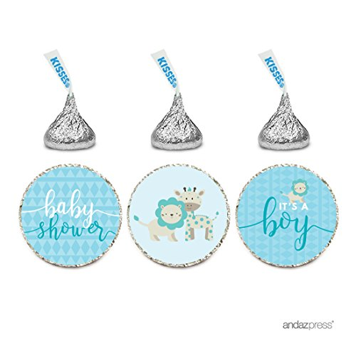 Andaz Press Chocolate Drop Labels Trio, Boy Baby Shower, Baby Blue Jungle Safari with Lion and Giraffe, 216-Pack, Fits Hershey's Kisses Party Favors, Decor, (Blue Safari Baby Shower Cupcakes)