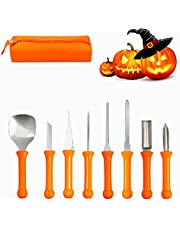 Halloween Pumpkin Carving Kit, VNICE Stainless Steel Sculpting Set Professional and Heavy Duty Carving Tools for DIY Jack-O-Lanterns with Storage Carrying Bag (8 Piece)