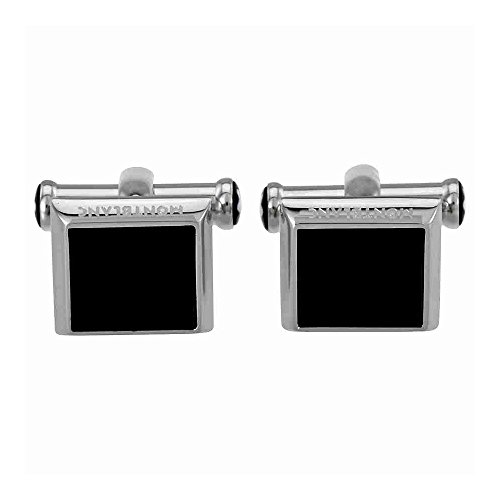 Montblanc 115061 Cuff Links, square in stainless steel with onyx inlay