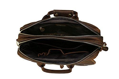BAIGIO Herren Freizeit Tasche Laptoptasche Businesstasche Collegetasche ledertasche Schultertasche Studententasche Umhängetasche aus eschtem Leder Groß Praktisch Tasche, Dunkelbraun