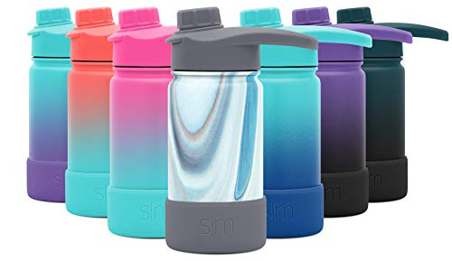 Simple Modern 14 Ounce Summit Water Bottle with Chug Lid & Protective Boot - Hydro Vacuum Insulated Flask 18/8 Stainless Kids - Pattern: Ocean Quartz