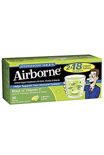 Airborne Vitamin C 1000mg Immune Support Supplement, Effervescent Formula Lemon-lime 4Pack (144 Count Tablets Total) Mk#!jd