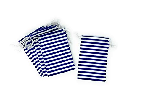 (Daisy Lane Nautical Party Favor Bag Pouch Blue and White Striped, 4X6 inches - Set of)