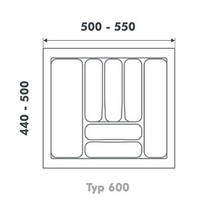 Bandeja de cubertería UNIVERSAL60 con 8 compartimentos (anchura 500-540 x profundidad 440-
