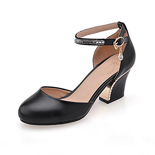 Allhqfashion Women's Buckle Round Closed Toe Kitten-Heels PU Solid Sandals Black