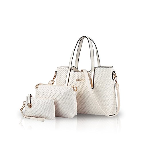 Shoulder 3pcs Bag Purse Handbag Leather PU Fashion NICOLE Bag Crossbody Tote Soft White amp;DORIS Blue 8YxqIwY40
