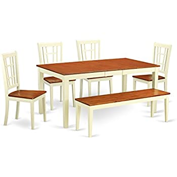 East West Furniture NICO6 WHI W 6 Piece Dining Table Set, Buttermilk