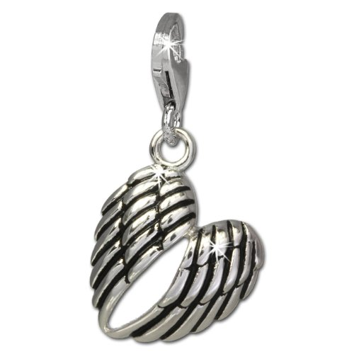 Angel Clasp Charm - SilberDream Charm angel wings blackened 925 Sterling Silver Pendant Lobster Clasp FC824