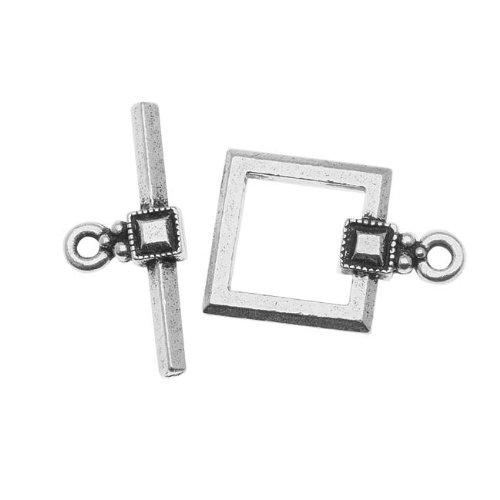 Silver Plated Lead-Free Pewter Deco Square Toggle Clasp 12.5mm (1) 36226 (Square Toggle Clasps Silver Plated)