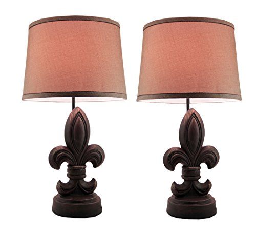Fleur Finial (Resin Table Lamps Rustic Brown Fleur De Lis Finial Set Of 2 Table Lamps With Fabric Shade 14 X 24 X 14 Inches Brown)