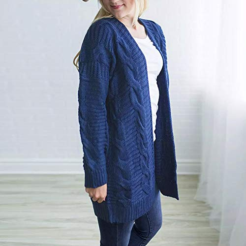 Sleeve Front Long Top Long DIKEWANG Knit Ladies Open Knitwear Sleeve Jacket Cardigan Swearter Boyfriend Lady Outwear Casual Cardigan Blue Coat Womens Knit EqCwSZC6