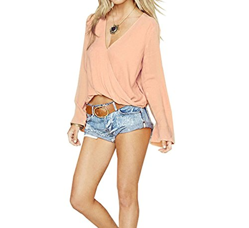 SUBWELL Women's V-Neck Flared Bell Sleeve Ruffled T-Shirt Pullover Slim Tops Blouses
