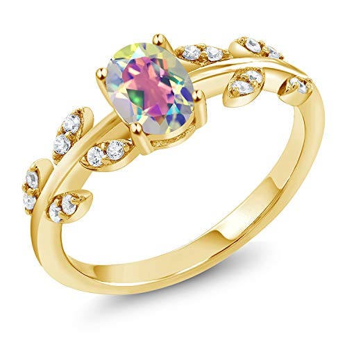 Gem Stone King 18K Yellow Gold Plated Silver 1.21 Ct Oval Mercury Mist Mystic Topaz Leaf Ring (Size 6) ()