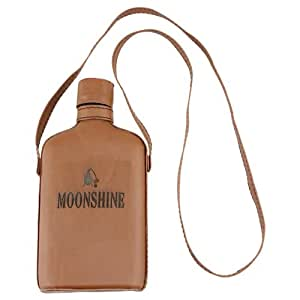 Moonshine Glass Hip Flask with Brown Leather Cover & Shoulder Strap - 8 oz