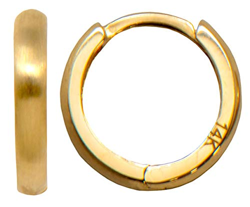 Small 14k Yellow Gold High Polished & Satin Brushed Reversible Huggie Hoop Earrings, All Sizes (12.5mm - Small)