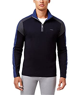 Calvin Klein Men's Swanson Striped Quarter Zip Sweater