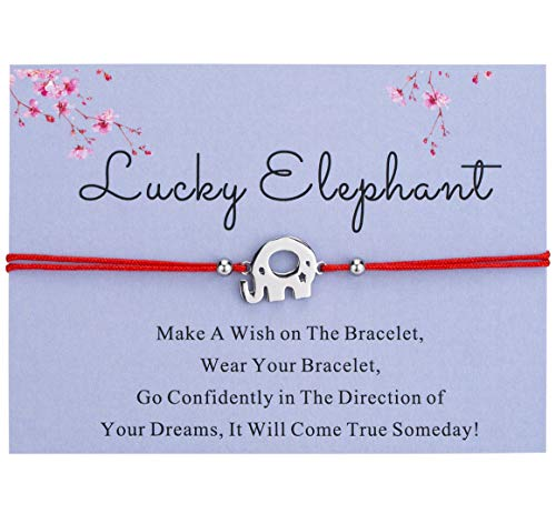 Bowisheet Good Luck Elephant Bracelet Handmade Red Cord Ajustable Bracelet with Message Card Gift for Women