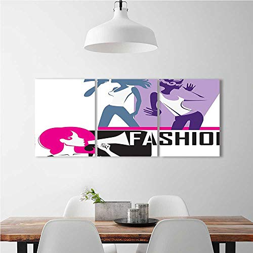 - aolankaili 3 Pieces Triptych Painting Living Room Decoration Frameless Teen Composition of Yelling into Megaphone Stylish Themed Art Print Black for Living Room Office Decor Gift W32 x H48 x 3pcs